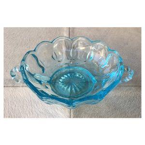 Vintage | Aqua Glass Bowl w/ Handles